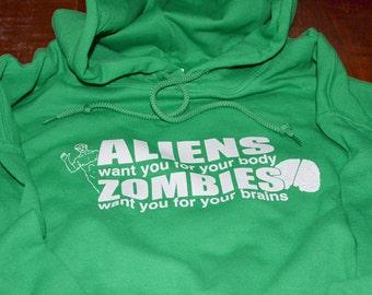 Aliens & Zombies geek hoodie hooded sweatshirt kelly green geekery zombie sweater for girls women teen funny horror gift for mom daughter