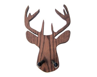 DEER GUITAR HANGER / Handmade Guitar Hanger / Wood Burned Edges / Wood Deer Silhouette Guitar Wall Hanger
