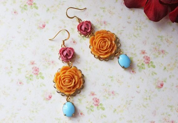 Autumn Romance Flower Earrings. Nature Inspired Jewelry. Whimsical. Pink, Orange and Blue. Bridesmaids Earrings. Woodland. Fall Weddings.