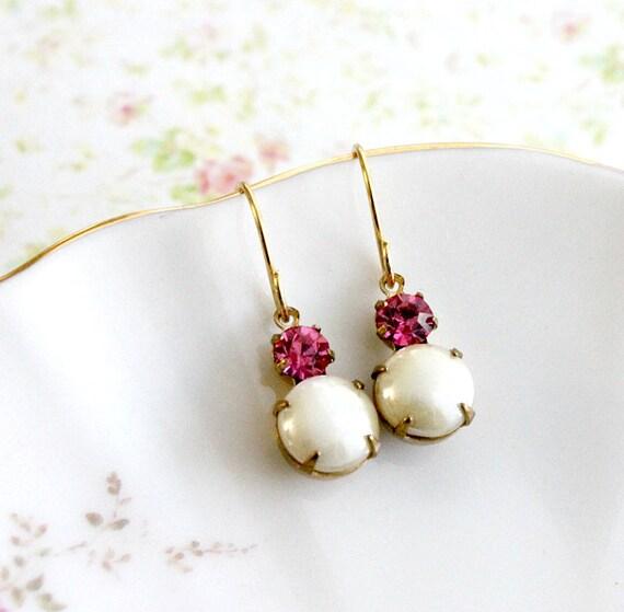 Creamy Pearl and Rose Pink Earrings. Vintage, Wedding, Romantic Earrings, Bridesmaids Earrings. Holidays, Gifts, Delicate