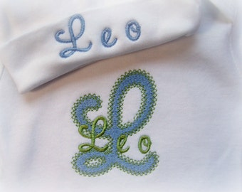 Personalized Baby Boy  one piece and Hat Set, Monogrammed, you choose the colors and font