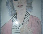 Original Portrait Woman Girl Lady Face Paper A4 Small