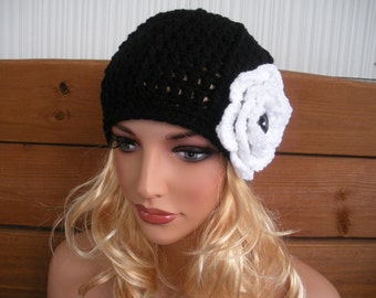 Crochet Hat Winter Fashion Accessories Womens Hat Cloche Beanie Winter Hat in Black with White Crochet Flower