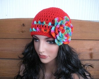 Womens Hat Crochet Hat Winter Fashion Accessories Women Beanie Hat Cloche in Cherry Red with Multicolor Stripes and Flower