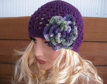 Crochet Hat Womens Hat Winter Fashion Accessories Women Beanie Hat Cloche in Dark Purple with Multicolor Crochet flower