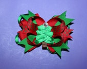 Layered Green and Red Christmas Tree Hair Bow