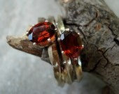 Sterling Silver  Twist Ring with Garnets Size 7
