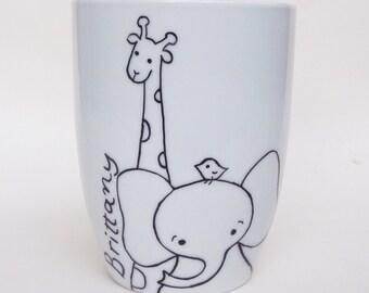 Giraffe and Elephant, zoo friends hand painted white porcelain mug