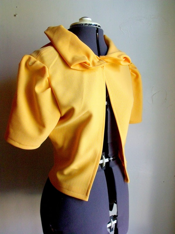 Yellow Handmade Jacket with Statement Collar made with Vintage Fabric