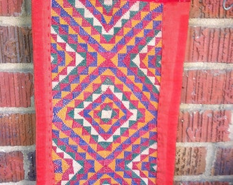 Bedouin Embroidered Wall Hanging Palestinian embroidered Wall Decor Red Multi Colored Fringe Vintage