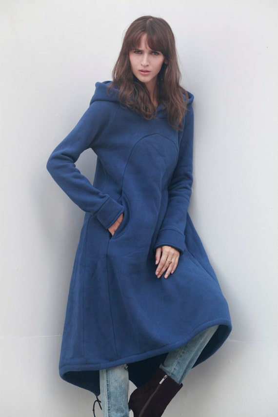 Navy Blue Hoodie Sweatshirt Cotton Fleece Hoodie Top with Big Hood for Autumn and Spring - Custom made - NC449