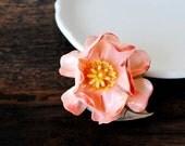 Vintage Peach Pink Flower Pin, Paper Mache Brooch Beauty