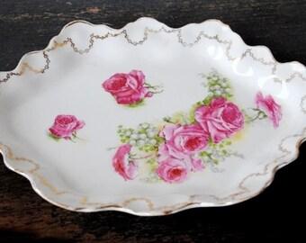 Antique La Francaise Porcelain Vanity Tray, Pink Rose Gold Trim Scalloped Dresser, France Early Mark 1900-1916