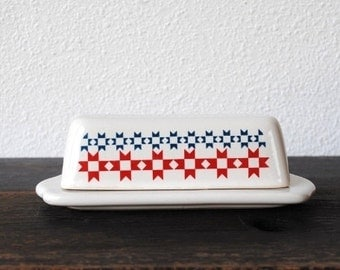 Farmhouse Dutch Kitchen Butter Dish with Lid, Vintage White Pottery Tableware, Collectible June Dairy Month Pattern