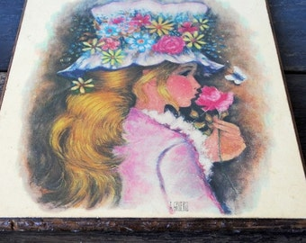1970s Anthony Gruerio Art Lithograph, Blonde Girl in Flower Hat, Signed Vintage Girls Room Decor