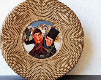 Vintage Antique Dickens Christmas Tin, Tiny Tim, Large Round Box, Metal Basket Weave Pattern