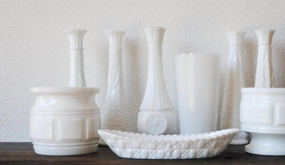 Vintage White Milk Glass Collection, Vases Bowl Dishes Planter Flower Pots, Home Decor Set of Nine (9)