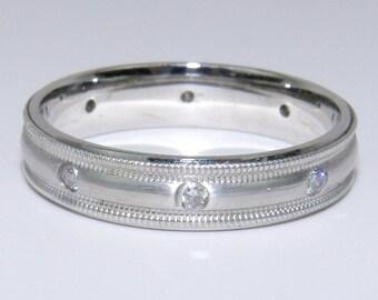 Diamond Eternity Wedding Ring Anniversary Band 14K White Gold Size 6.25