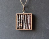 Real Twig Necklace in Genuine Wooden Square Bezel