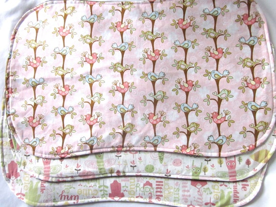 Burp Cloths Baby Set of 3 Girl Pink Brown Green Cream Cotton