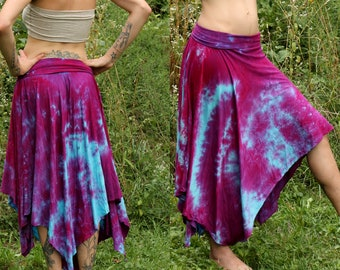 CUSTOM Long bamboo pixie skirt in fuchsia and turquoise S, M, L