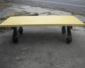 nice clean vintage scarce mid century modern parquet wood and steel legged LANE COFFEE TABLE  pick up only