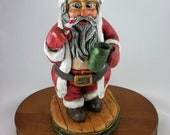 Wood Carved Painted by Hand Santa St. Nick Claus Figurine made in Maine