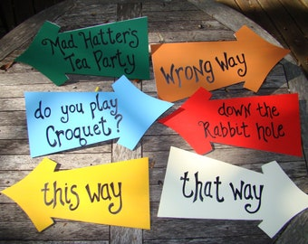 This Way - That Way Alice in Wonderland Arrow Directional Signs - Customizable - Set of 6