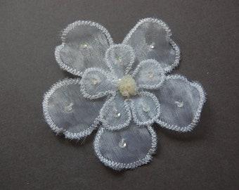 2pc Small - Sequin White Organza Flower