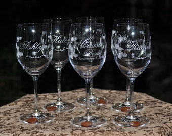 Bridesmaids Wedding Crystal Wine Glass Table Setting - Personalized - Cherry Blossoms with Charm