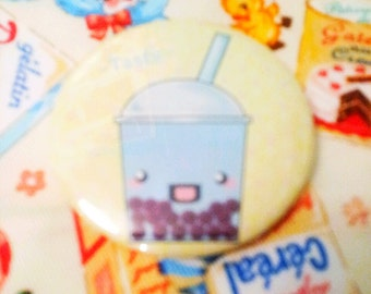 Tasty bubble tea blueberry 2.25 inch pinback button
