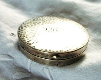 Antique Sterling Silver Compact with Mirror - Hammered Design - Monogrammed