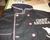 Custom designed Chef Coat/ Jacket w/ customers private LOGO and Monogrammed just for the Chef