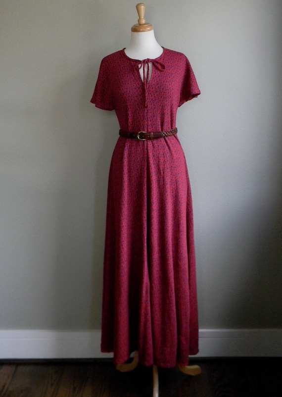 red floral knit maxi dress