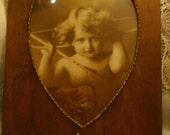 CUPID AWAKE, mb Parkinson,Heart Shaped Wood Frame,1897,Victorian Era, Antique Prints, Nostalgic Photos, Country Home Decor, Cupids