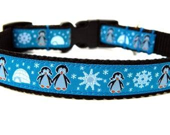 "Christmas Dog Collar 3/4"" or 5/8"" Teal Penguin Dog Collar"