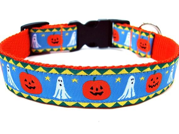 "Pumpkin Dog Collar 1"" Ghosts and Pumpkin Halloween Dog Collar SIZE SMALL"