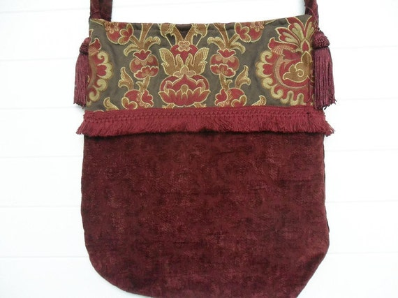 Bohemian Gypsy Purse Bag Brick Red Flowers