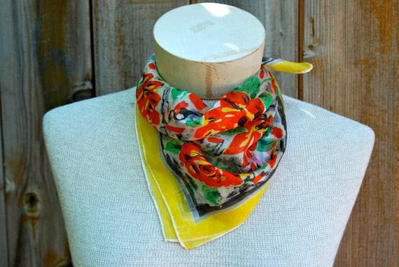 Ramblin' Rose: silk neckerchief or handkerchief, bold red roses with yellow border.