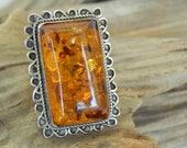 Vintage Baltic Amber Ring Size 8 in 925 Sterling Silver - Large Statement Ring