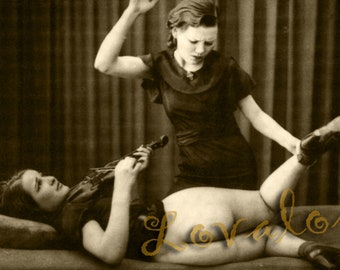 MATURE... Naughty Violin Lesson... Deluxe Erotic Art Print... 1930's Vintage Nude Fetish Photo... Available In Various Sizes