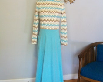 SALE REDUCED Vintage  Chevron Maxi Dress- 1960's- Knit -Sheer- Goddess dress ((Size Small to Medium))