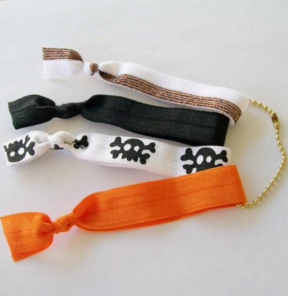 4 Ribbon Hair Ties, Trick or Treat by Lucky Girl Hair Ties