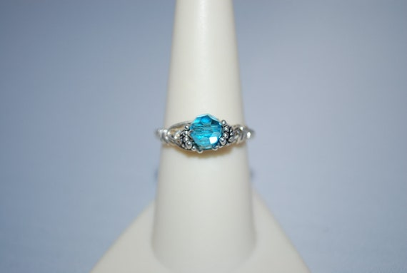 Swarovski Aquamarine and Sterling Silver Wire Wrapped Ring