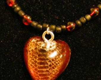Snake Skin Heart Pendant