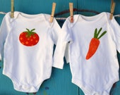 Vegetable Rompers, Appliqued Baby Layette, New Baby Gift, Twin Romper Set, Birthday Set, Tomato and Carrot Applique, MADE-TO-ORDER