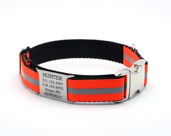 Reflective Dog Collar with Built-In Laser Engraved  Personalized Nameplate - BLAZE ORANGE