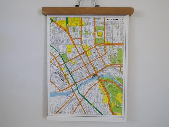 vintage map of melbourne city, 27 x 37 cm