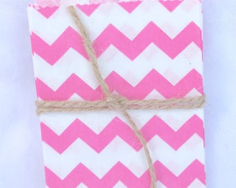 20Tiny chevron BaGs--hot Pink  chevron--mini size--snacks--candy buffets--party favors--gifts---weddings--showers--20ct-