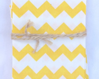20Tiny CHEVRON Bags--yellow--party favors--gifts---weddings--showers--20ct-
